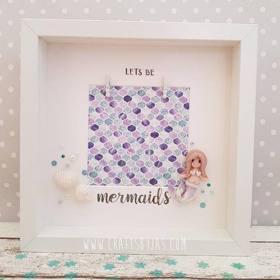 Let\'s be mermaids handmade mermaid frame friends best