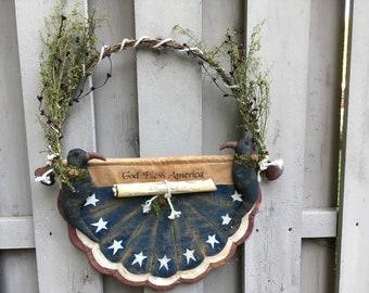 Primitive Americana - Primitive Flag Bunting - Patriotic Hanger - Liberty Bells - Grapevine Wreath - Folk Art Americana - Summer Crows