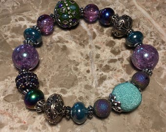 """11"""" GlamPaws collection pet necklace in purple and green"""