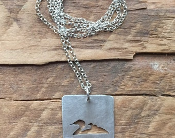 Sterling Silver loon and chick necklace