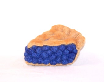 Needle Felted Pie - Piece of Blueberry Pie - Kitchen Decor - Play Food - Gift for Her - Felted Food - Needlefelt Food - Slice of Pie