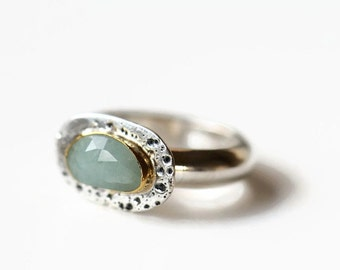 Sapphire ring size 8, oval stone ring, sterling silver ring with pale blue sapphire in 22K gold setting, OOAK ring