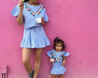 Blue Striped Tassel Mommy and Me Matching Cute Summer Vacation Girls Dresses