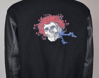 Vintage 1990's Men's Grateful Dead Embroidered Varsity Leather & Wool Stanley Mouse Jacket Size M