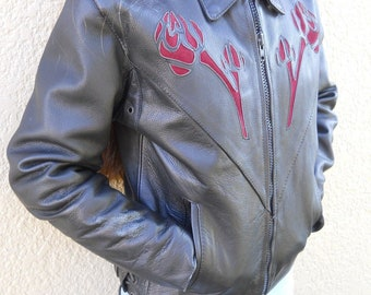 Black Leather Motorcycle Jacket, American Top Brand with a Red Rose Design, Women's XS, Great Condition