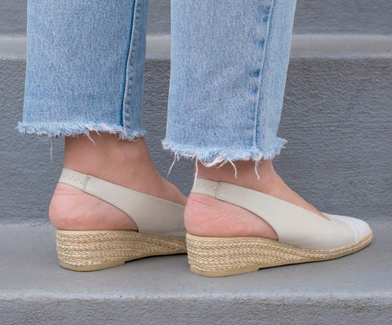 wedges wedge 70s 38 white 1970s espadrille espadrilles 8 espadrille white wedges leather assous andre ivory heel off vintage TXqwBYq