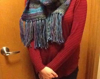 Crochet Variegated Blues Scarf