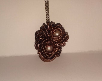 Rose colored Akoya pearl Wire Wrapped Necklace