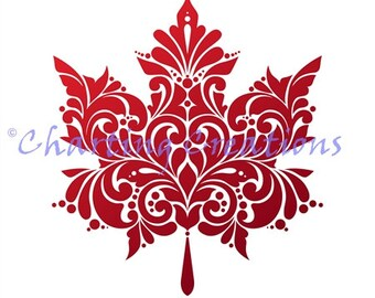 Maple Leaf Silhouette Counted Cross Stitch Pattern