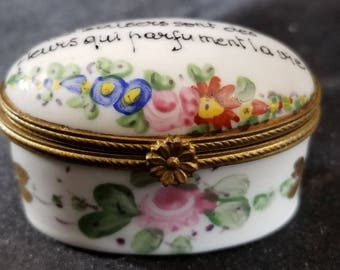 Antique Limoges France Pill Box Hand Enameled with Gold and Bronze Mount Miniature c.1900