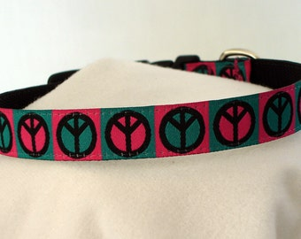 Peace Signs Collar - Dog Collar - Small Dog Collar - 5/8 Inch Wide - Adjustable 9-14 Inches - Pink and Teal - Hippie Chic - READY TO SHIP