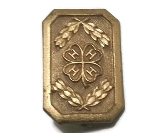 Tiny Art Deco 4 Leaf Clover Pin  Gold Shamrock Brooch Good Luck Vintage St Patricks Day Lucky Clover Irish Luck Jewelry Gift 4H Club Charity