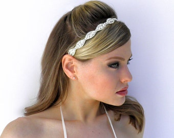 Bridal Crystal Headband Headpiece Tiara Halo with Ribbon closure