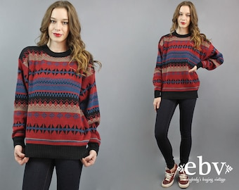 Southwest Sweater Oversized Knit Oversized Sweater Men's Sweater Women's Sweater 90s Sweater Tribal Sweater 90s Jumper Pullover S M L