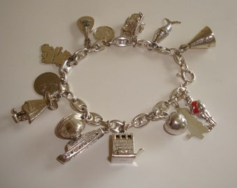Sterling Silver Charm Bracelet/Vintage/Travel Charms/Las Vegas-England-Ireland-Queen Mary-Cowboy Boot-Apple-Santa-Spain/Anchor Chain