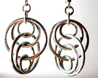 Floating Silver Chainmaille Earrings - Aluminum - Illusion Loops - Chainmail Jewelry