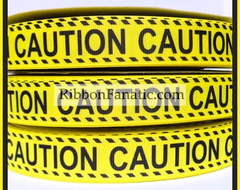 """5 yds 7/8"""" Yellow and Black Caution Tape Grosgrain Ribbon"""