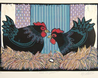 linocut, Mine or Yours, hens, chickens, hen and egg, egg, black, purple, turquoise, farm kitchen, printmaking,
