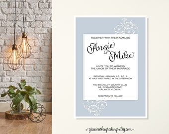 Wedding Invitations | Vow Renewal Invitation | Reception Cards | Eloped Wedding Reception | Post Wedding Reception | Classic Floral Wedding