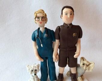 Custom Polymer Clay Wedding Cake Topper, Custom Couple Figurine, Clay Couple Sculpture