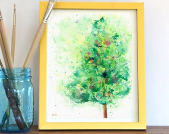 Watercolor Print, Tree, Landscape, Fine Art, Floral, Modern Art, Ink, Minimalist, Garden Floral, Abstract Art, Bohemian