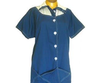 1950s White Stag Sailcloth Jacket Smock / Button Front Cotton Top with Knit Collar / Royal Blue White Top Stitching / Large Patch Pockets