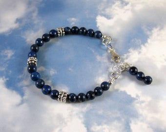 Blue Lapis and Sterling Silver Bracelet