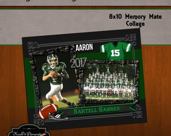 8x10 Memory Mate Tackle Football Collage or Storyboard Now Available for INSTANT download  PSD Template