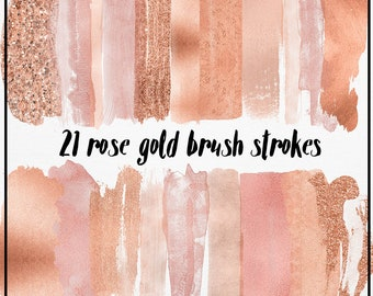 3 FOR 8 Rose gold Brush Strokes, Rose gold Clipart, Rose gold watercolor brush, copper clipart, Acrylic Paint Clipart, rose gold logo