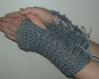 Medieval-Style Lace-Up Fingerless Gloves