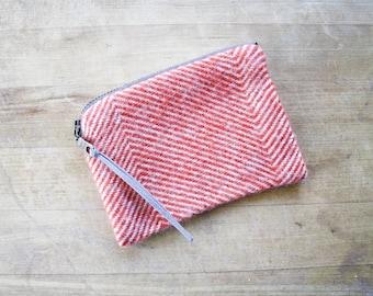 Wool Wallet / Coinpurse / Zipper Pouch in Reddish Orange Herringbone /  Herringbone Wallet / Wool Coinpurse