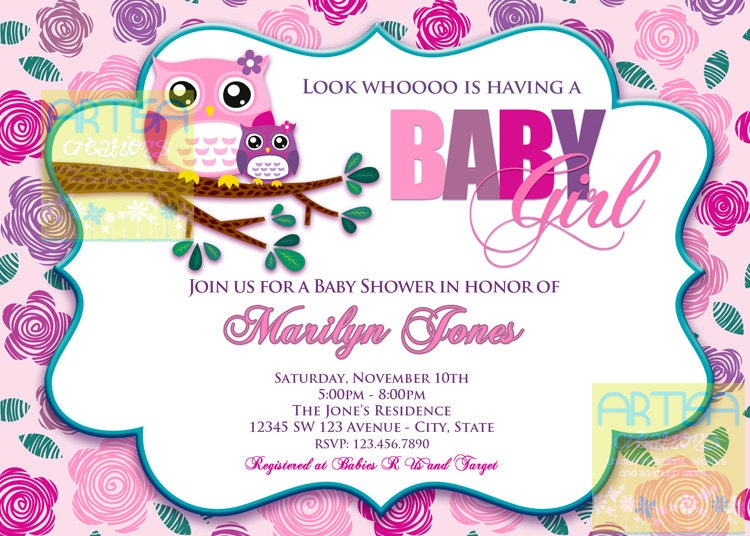 Pink Owl Baby Shower Invitation Owl Baby Girl Shower