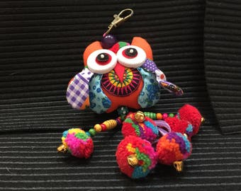 Keychain Orange Owl with Multi-Colored PomPoms