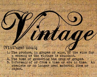 Digital Collage Sheet Download Burlap Fabric Transfer VINTAGE word DEFINITION words Iron On Pillows Totes Tea Towels No. 3221
