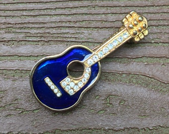 Vintage Jewelry Gorgeous Blue Enamel & Rhinestones Guitar Pin Brooch