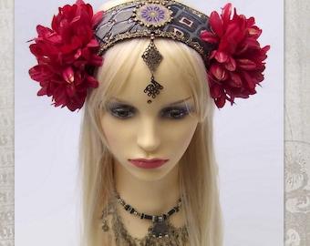 ATS Headdress, Festival Flowers Headpiece, Tribal Belly Dance, Boho Headband, Gypsy Headdress, Fairy, Burning Man, Tribal Fusion Headdress