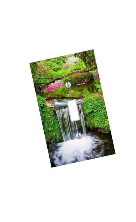 Garden Waterfall Landscape Light Switch Plate beautiful wall