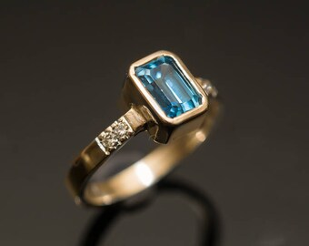 Blue Topaz Ring Gold Topaz Ring Champagne Diamonds Ring Emerald Cut Topaz Ring Swiss Blue Topaz Ring November Birthstone Ring Blue Gemstone
