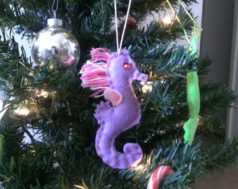 Kitchmas Seahorse Christmas Ornament Feltie Plush Purple
