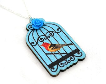 SALE - Bird Necklace, Wood Pendant, Birdcage Illustration, Wood Jewelry