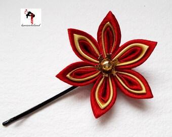 Japanese flower tsumami kanzashi, red and gold.