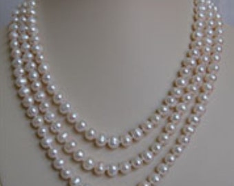 7mm Cultured Freshwater Pearl Triple Strand Necklace w/Steering Wheel Clasp
