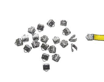 150 pieces  6mm  (1/4 inch) Gunmetal Ribbon Clamp End Crimps - Artisan Series