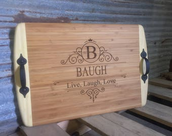 Family Serving Tray Custom Laser Engraved Personalized Bamboo Serving Tray