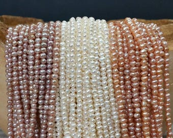 AA Grade Seed Pearl 2 to 3 mm Freshwater Pearl Small Nugget Beads - White, Peach and Blush Full Strand (G2539W35Q5-MC-BH:W)