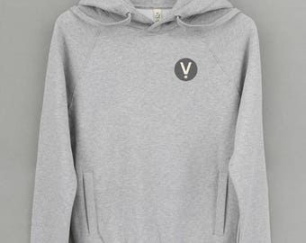 Ethical Vegan Hoodie • V for Vegan • 7 icon colour options. Men's / Women's. 100% organic cotton. People, animal + eco friendly