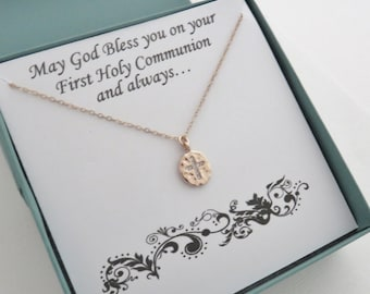 First Communion Gift, Rose Gold Cross Necklace, Cross Necklace, Cubic Zirconia, Confirmation Gift for Her, MarciaHDesigns, MHD