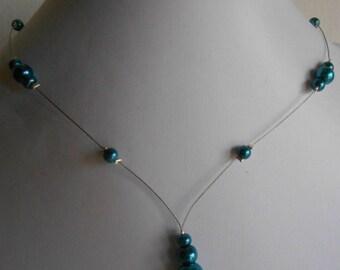 Wedding necklace cascade peacock blue beads