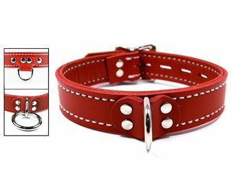 Red Collar with Red Leather Lining and Locking Buckle - Your Choice of Front Ring and Stitching