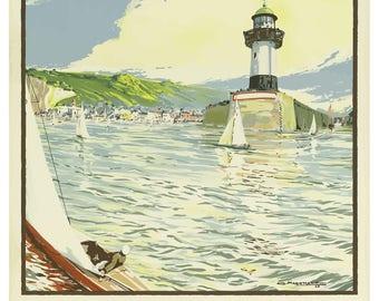 Vintage St Valery En Caux France Travel Poster Print